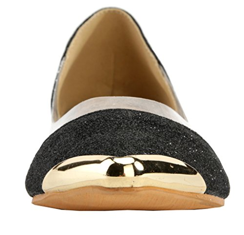 AgeeMi Shoes Women Pointed Toe Flats Slip On Comfort Pumps Shoes With Metal Black ptnIxB