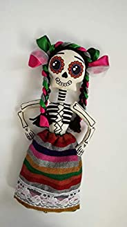 Catrina mazahua, muñeca calaverita de trapo hecha a mano, juguetes handmade by Arteté®dolls