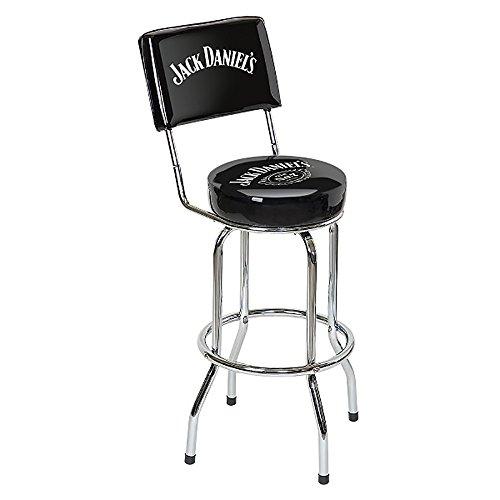 Jack Daniels Swivel Bar Stool with Backrest - Black