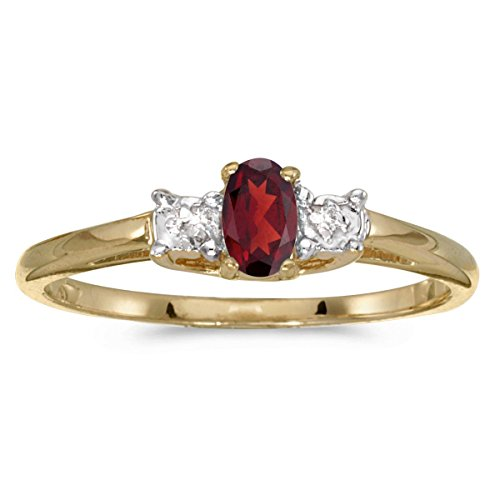 10k Yellow Gold Genuine Red Birthstone Solitaire Oval Garnet And Diamond Wedding Engagement Ring - Size 7.5 (0.23 Cttw.)