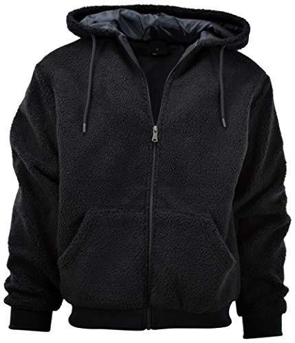 (Mens Full Zipper Fleece Basic Hoodie with Lining to Choose from (S, 200-Black))
