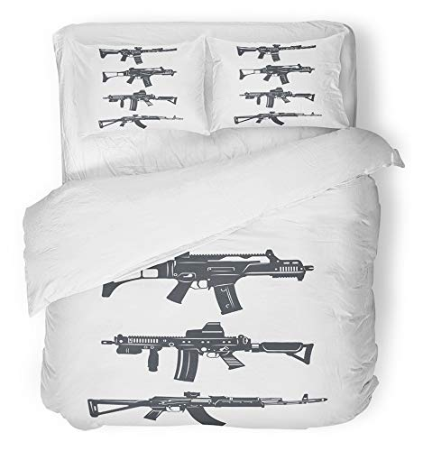 Emvency 3 Piece Duvet Cover Set Breathable Brushed Microfiber Fabric Navy Glock Modern of Various Assault Rifles Gun Ammunition Armament Arms Army Bedding Set with 2 Pillow Covers King Size