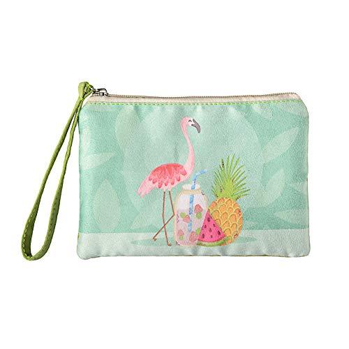 Rantanto Cute Canvas Cash Coin Purse, Make up Bag, Cellphone Bag with Handle (BG0017-1 Flamingo)