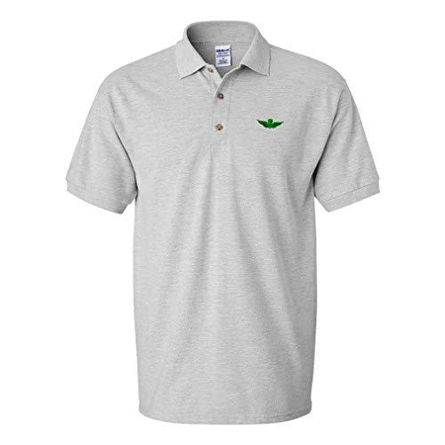 Polo Shirt Army Command Pilot Logo Embroidery Design Cotton Golf Shirt for Men Oxford Grey Medium Design Only