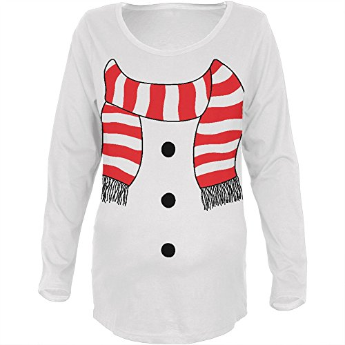 [Halloween Snowman Suit Costume White Maternity Soft Long Sleeve T-Shirt - Medium] (Cheap Maternity Halloween Costumes)