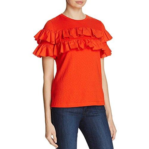 - Tory Burch Womens Lennox Ruffled Short Sleeves Casual Top Orange M