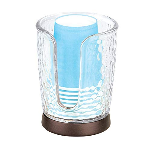 (mDesign Modern Plastic Compact Small Disposable Paper Cup Dispenser - Storage Holder for Rinsing Cups on Bathroom Vanity Countertops - Clear/Bronze)
