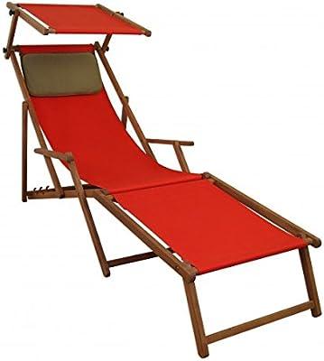 Sonnenliege rot Liegestuhl Fußteil Sonnendach Kissen Holz Deckchair  Gartenmöbel 10-308 FS KD