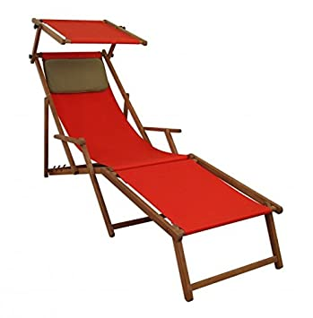 Amazon.de: Sonnenliege Rot Liegestuhl Fußteil Sonnendach Kissen Holz ...