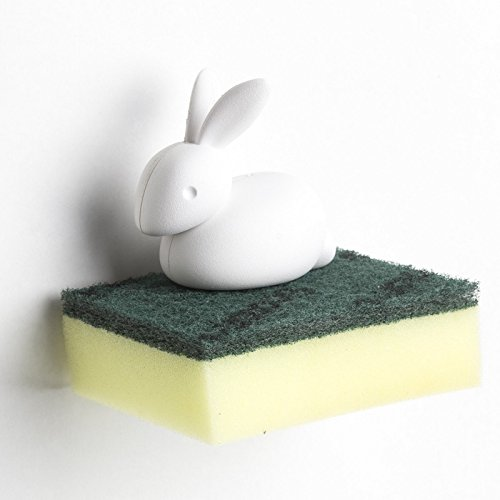 Kitchen Sponge Holder Bunny by Qualy Design Studio. Unusual Sink Caddy - Great Housewarming Present. Unique Kitchen Accessory for Creative (The Saddle Rack Halloween)