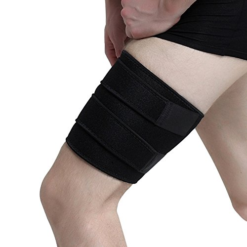 Thigh Support Brace, ESoku Unisex Adjustable Compression Thigh Sleeve Wrap for Sports Injury and Recovery by ESoku
