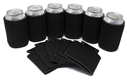 Tahoebay Can Sleeves for Standard 12 Ounce Cans Blank Poly Foam Beer Coolies (Black, 12)