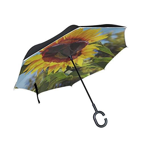 d Glasses Sunglasses Sun Sunflower Eye Protection Umbrellas Reverse Folding Umbrella Windproof Uv Protection Big Straight Umbrella For Car Rain Outdoor With C-shaped Handle ()