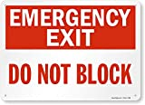 'Emergency Exit - Do Not Block' Sign By SmartSign | 10' x 14' Plastic