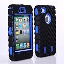 Tire Pattern Dual Layer High Impact Defender Case Cover for iPhone 4/4S - Blue