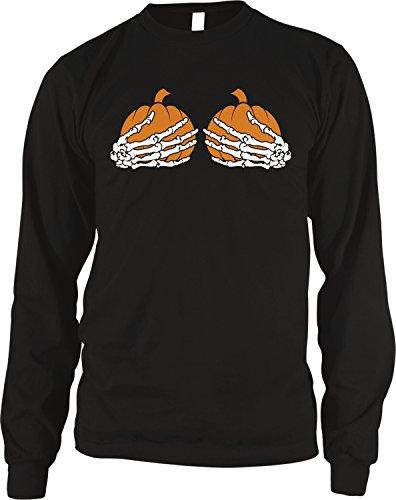 Amdesco Men's Skeleton Hands, Holding Pumpkin Boobs Thermal Shirt, Black -
