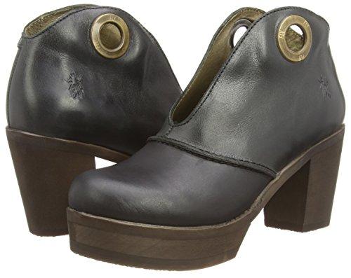 Fly London Hene - punta cerrada de cuero mujer negro - Black (Black/Anthracite)