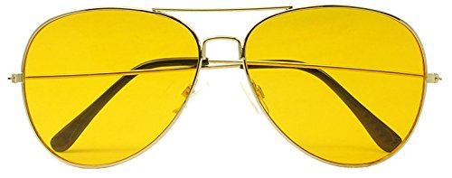 Sunglass Stop - Oversized Round 80's Vintage Yellow Night Driving Aviator Sunglasses (Gold, - Yellow With