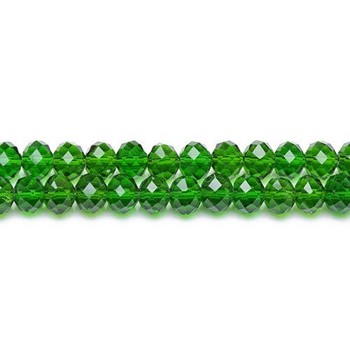 (90+ Bright Green Czech Crystal Glass 4 x 6mm Faceted Rondelle Beads GC3531-2 (Charming)