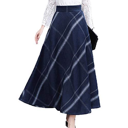 Femmes Taille Haute Jupes A-Ligne Automne Hiver Jupe Longue en Laine Jupe Plisse Blue