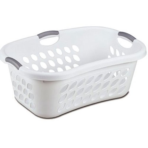 (Hip Hold Plastci Laundry Basket, White with Titanium Handles)