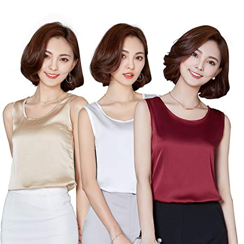 Alizeal 3 Pieces Silk-Feeling Charmeuse Ladies Daily Underwear, Champagne/Maroon/White, 05-L