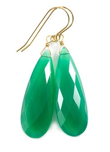 Green Onyx Earrings (14k Yellow Gold Green Onyx Earrings Long Faceted Briolette Teardrop Dangles Large)