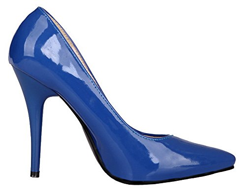 AllhqFashion Womens High-Heels Patent Leather Solid Closed-Toe Pumps-Shoes Blue nV5i1pJAI