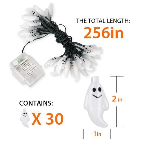 Yostyle Halloween Decorations Solar String Lights, 30 LED Waterproof Cute Ghost LED Holiday Lights for Patio, Garden,Outdoor Decor, 8 Modes Steady/Flickering Lights [Light Sensor] 19.7ft Multicolor