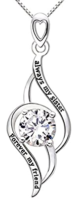 """ALOV Jewelry Sterling Silver """"always my sister Forever my friend"""" Love Cubic Zirconia Pendant Necklace"""