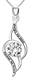 """ALOV Jewelry Sterling Silver """"always my sister Forever my friend"""" Love Pendant Necklace"""