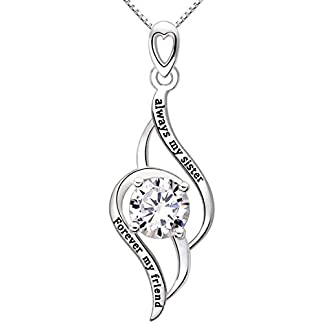 ALOV Jewelry Sterling Silver Always My Sister Forever My Friend Love Cubic Zirconia Pendant Necklace