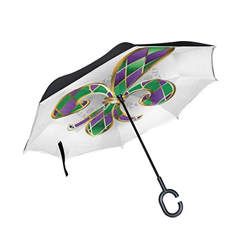 DoubleCW Fleur De Lis Inverted Umbrella Double Layer Outdoor Rain Sun Car Reversible Umbrella