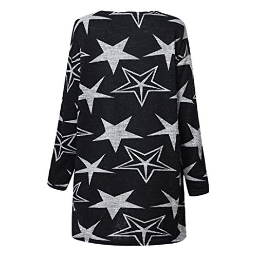 Print T Top Gray Black Casual XOWRTE Red Black Star Long Blouse Sleeve Style Shirt Women xRw1wE0qO