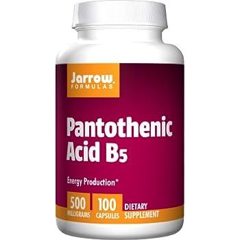 Jarrow Formulas Pantothenic Acid B5 500 mg Capsules, 100 Count