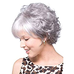 Menoqi Gray Wigs for Women Short Curly Pixie Cut Silver Gray Wig for White Women with Bangs, Cute Fashion Natural…