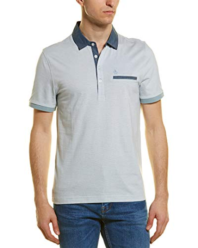 Original Penguin Men's Stripe Polo with Chambray Details, Bright White Extra Large