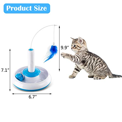 Hollypet Electric Cat Teasing Toy 360 Degree Mute Training Pet Toy Kitten Rotate Feather Interactive Toy 3