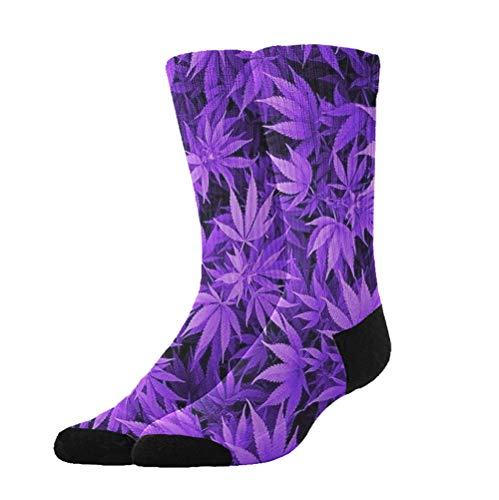Purple Cannabis Weed Leaves - 3D Compression Socks for Men Women Boys Girls Kids, Athletic Socks Fit for Running Hiking Cycling Camping Travel -