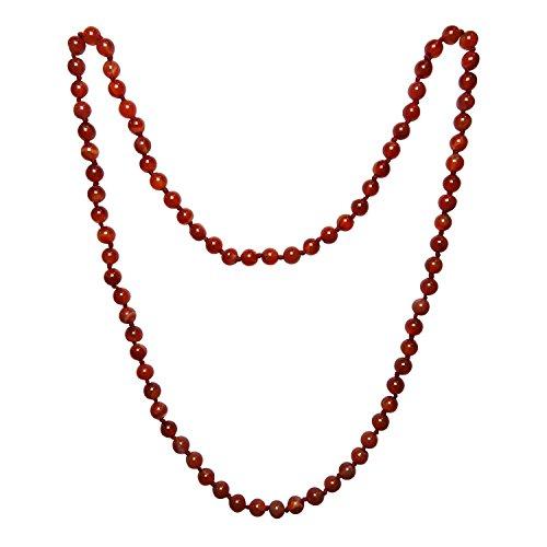 Satyamani Natural Carnelian for Healing Emotional Energy Carnelian Crystal Chain (8mm Beads) 100% Original Energized and self Tested Gemstone for Reiki Healing/Astrology/Numerology & Meditation