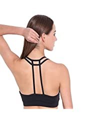 Women's Double Lined T-Back Wirefree Yoga Sports Bra