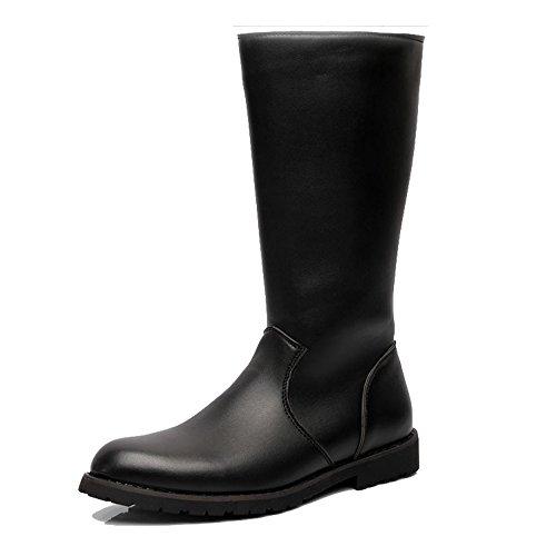 de para de Hombres Superior Zapatos Cremallera Botas de Cuero Liso Lado Negro los Caballeros Combate los Mediados Ternero de SOdqp