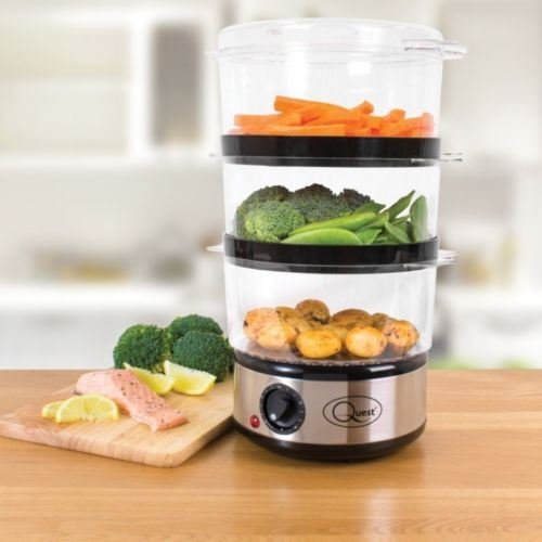 NEW 3 TIER STAINLESS STEEL ELECTRIC FOOD VEG 6 LTR STEAMER 400W TIMER RICE FISH a2zdicounts