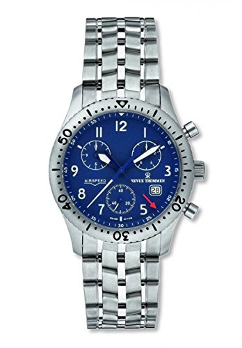 Revue Thommen Airspeed Chronograph Blue Dial Stainless Steel Men's Watch