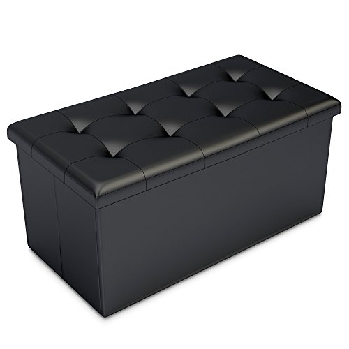Beau Home Complete HC 7001 Storage Ottoman Faux Leather Rectangular Bench With  Lid