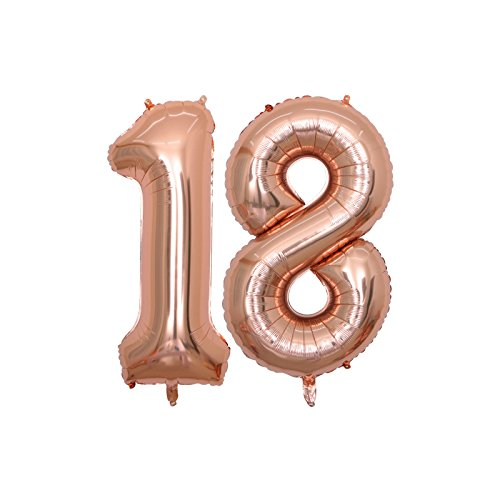 BALONAR 40 inch Jumbo 16th Rose Gold Foil Balloons for Birthday Party Supplies,Anniversary Events Decorations and Graduation Decorations (ROSE16) -