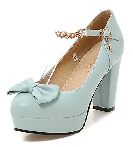 Cadena Bowknot De Las Mujeres De Aisun Punta Redonda De Corte Bajo Bloque De Encaje Elegante Bloque De La Plataforma Bombas De Zapatos Con Correa De Tobillo Azul
