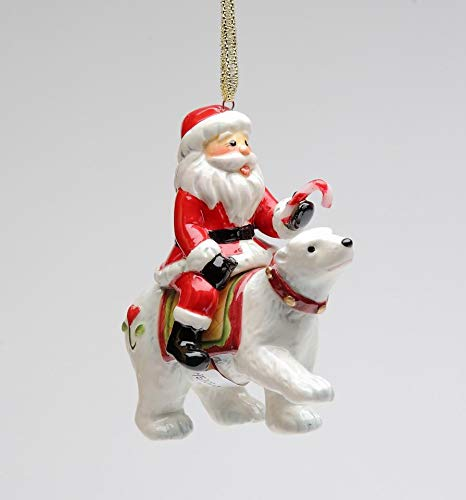 (Cosmos Gifts Fine Ceramic North Pole Santa Riding Polar Bear Christmas Tree Hanging Ornament, 3.25
