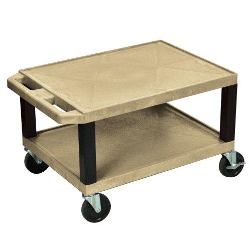 "UPC 812552015124, Luxor WT16TNE-B Tan 16"" 2 Shelf Electric A/V Cart With Black Leg"