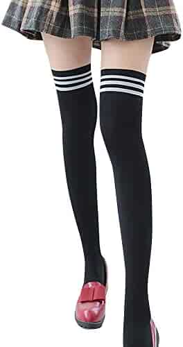 aa1845c72 Women's Fashion Stripe Extra Long Cotton Thigh Over Knee Elegant High Socks  Cosplay Socks